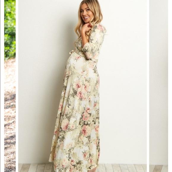 Ivory Floral Maternity Maxi Dress